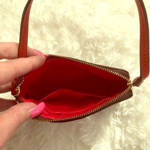 Coach Wristlet Signature Brown with red/orange